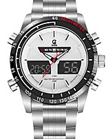 cheap -Men's Sport Watch Dress Watch Quartz 100 m Water Resistant / Water Proof Calendar / date / day Chronograph Stainless Steel Band Analog-Digital Luxury Fashion Black / Silver - Black Silver