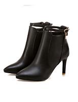 Недорогие -Жен. Fashion Boots Полиуретан Зима Ботинки На шпильке Закрытый мыс Ботинки Черный / Желтый / Розовый