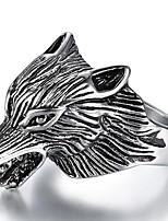preiswerte -Herrn Stilvoll / 3D Ring - Titanstahl Wolf Punk 8 / 9 / 10 Silber Für Strasse