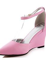 Недорогие -Жен. Комфортная обувь Наппа Leather Осень Обувь на каблуках Туфли на танкетке Белый / Черный / Розовый