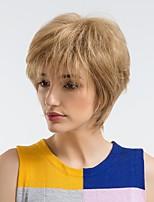 Недорогие -Человеческие волосы без парики Натуральные волосы Прямой Стрижка под мальчика Природные волосы Блондинка Без шапочки-основы Парик Жен. На каждый день