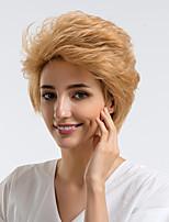 Недорогие -Человеческие волосы без парики Натуральные волосы Кудрявый Стрижка под мальчика / Боковая часть Природные волосы Золотистый Без шапочки-основы Парик Жен. На каждый день