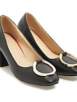 Недорогие -Жен. Комфортная обувь Полиуретан Весна Свадебная обувь На толстом каблуке Белый / Черный / Красный / Свадьба