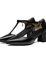 Недорогие -Жен. Балетки Полиуретан Весна Обувь на каблуках На толстом каблуке Черный / Красный / Миндальный
