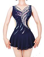 cheap -Figure Skating Dress Women's / Girls' Ice Skating Dress Dark Blue Spandex High Elasticity Professional Skating Wear Fashion Sleeveless Ice Skating / Winter Sports / Figure Skating
