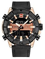 Недорогие -NAVIFORCE Муж. Спортивные часы Наручные часы Японский Японский кварц 30 m Защита от влаги Календарь Фосфоресцирующий Натуральная кожа Группа Аналого-цифровые На каждый день Мода Черный / Коричневый -