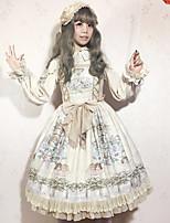 economico -Lolita Classica e Tradizionale Dolce Chiffon Per femmina Cosplay Bianco / Blu / Blu inchiostro Senza maniche Senza maniche Costumi Halloween