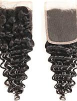 Недорогие -Бразильские волосы 4x4 Закрытие / Бесплатно Part Кудрявый Бесплатный Часть Швейцарское кружево Натуральные волосы Жен. Шелковистость / Гладкие / обожаемый