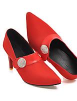 Недорогие -Жен. Балетки Полиуретан Лето Обувь на каблуках На шпильке Красный / Зеленый / Миндальный