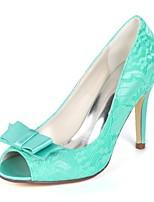 baratos -Mulheres Stiletto Renda Primavera Verão Doce Sapatos De Casamento Salto Agulha Peep Toe Laço Verde / Azul / Ivory / Festas & Noite