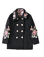 Недорогие -Дети Девочки Однотонный / Контрастных цветов Длинный рукав Куртка / пальто
