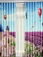 Недорогие -3D-шторы Спальня Геометрический принт Лён Активный краситель