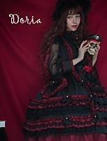 economico -Dolce Vintage Dolce Ruffle Dress Pizzo Per femmina Vestiti Cosplay Nero Ricami in pizzo A sbuffo Manica lunga Midi Costumi Halloween