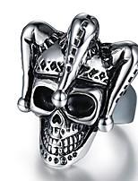 preiswerte -Herrn Vintage Stil / 3D Bandring / Statement-Ring - Titanstahl Totenkopf Retro, Punk 9 / 10 Schwarz Für Alltag / Strasse