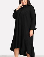 cheap -Women's Going out / Beach Basic Loose Shift Dress - Solid Colored Maxi / Fall