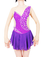 cheap -Figure Skating Dress Women's / Girls' Ice Skating Dress Purple Spandex High Elasticity Professional Skating Wear Fashion Long Sleeve Ice Skating / Winter Sports / Figure Skating