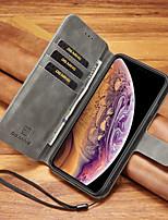baratos -Capinha Para Apple iPhone XR / iPhone XS Max Porta-Cartão / Antichoque Capa Proteção Completa Sólido Rígida PU Leather para iPhone XS / iPhone XR / iPhone XS Max