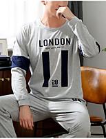 abordables -Col Arrondi Costumes Pyjamas Homme Couleur Pleine