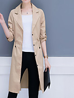 cheap -Women's Basic Trench Coat - Solid Colored, Patchwork