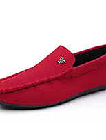 cheap -Men's Moccasin PU(Polyurethane) Fall Casual Loafers & Slip-Ons Non-slipping Black / Red