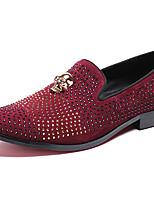 baratos -Homens Sapatos de couro Pele Napa Outono Formais Mocassins e Slip-Ons Não escorregar Vermelho Escuro / Pedrarias / Festas & Noite