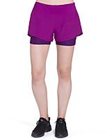 billiga -Dam Lappverk / Med inre shorts Tätsittande träningsshorts - Svart, Violet t sporter Färgblock Elastan Shorts Yoga, Fitness, Träna Sportkläder Lättvikt, Snabb tork, Andningsfunktion Hög Elasisitet