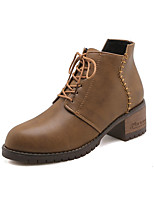 Недорогие -Жен. Армейские ботинки Полиуретан Осень Ботинки На толстом каблуке Круглый носок Черный / Коричневый / Зеленый