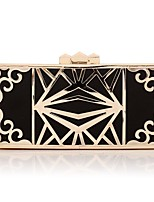 cheap -Women's Bags PU(Polyurethane) / Alloy Evening Bag Buttons / Hollow-out Gold / Black
