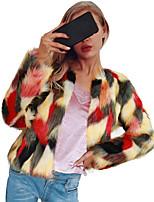 Недорогие -Жен. Пальто с мехом Изысканный - Разные цвета / Контрастных цветов Пэчворк