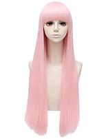Недорогие -Wig Accessories Прямой Боковая часть Искусственные волосы 30 дюймовый Кейс / Косплей Розовый Парик Жен. Длинные Без шапочки-основы Розовый