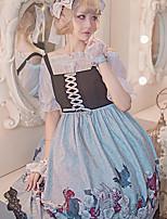 economico -Gotico Dolce Florale Vintage Per femmina Vestiti Cosplay Grigio / Rosso / Blu Senza maniche Senza maniche Midi Costumi Halloween