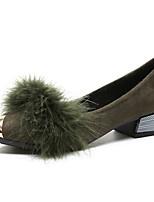 Недорогие -Жен. Комфортная обувь Полиуретан Осень Обувь на каблуках Блочная пятка Заостренный носок Серый / Зеленый / Темно-коричневый / Повседневные
