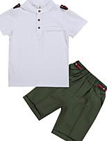 Недорогие -Дети Мальчики Классический Однотонный С короткими рукавами Набор одежды