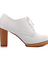 Недорогие -Жен. Fashion Boots Полиуретан Весна Ботинки На толстом каблуке Закрытый мыс Ботинки Белый / Светло-лиловый / Розовый