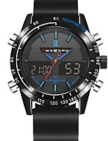 cheap -Men's Sport Watch Japanese Quartz 100 m Water Resistant / Water Proof Calendar / date / day Chronograph PU Band Analog-Digital Casual Fashion Black - Orange Blue / Noctilucent