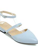 Недорогие -Жен. Комфортная обувь Полиуретан Весна Обувь на каблуках На низком каблуке Белый / Черный / Синий