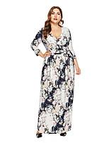 baratos -Mulheres Moda de Rua / Elegante Bainha / balanço Vestido - Estampado, Floral Longo