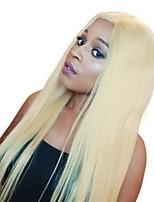 Недорогие -Натуральные волосы Лента спереди Парик Бразильские волосы Бирманские волосы Прямой Парик С конским хвостом 130% Плотность волос Женский Легко туалетный Лучшее качество Жен. Длинные