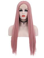 billiga -Syntetiska snörning framifrån Rak Rosa Middle Part Syntetiskt hår 24 tum Justerbar / Värmetåligt Rosa Peruk Dam Lång Spetsfront Rosa / Ja