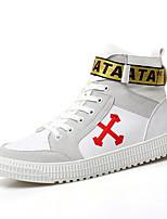 Недорогие -Муж. Комфортная обувь Свиная кожа Весна & осень Спортивные / На каждый день Кеды Нескользкий Белый / Белый / Желтый