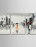 baratos -Pintura a Óleo Pintados à mão - Abstrato / Pessoas Modern Tela de pintura / 3 Painéis