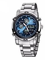Недорогие -ASJ Муж. Спортивные часы Нарядные часы Японский Кварцевый 30 m Защита от влаги Календарь Секундомер Нержавеющая сталь Группа Аналого-цифровые Роскошь Мода Серебристый металл - Черный Синий