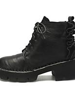 Недорогие -Жен. Ботильоны Наппа Leather Осень Ботинки На низком каблуке Заостренный носок Ботинки Цветы из сатина Черный / Темно-коричневый