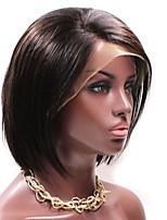 Недорогие -Remy Лента спереди Парик Бразильские волосы Естественные кудри Парик Стрижка боб Стрижка каскад 130% Плотность волос Природные волосы Прямой пробор Боковая часть Нейтральный Жен. Короткие