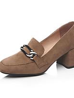 abordables -Femme Escarpins Daim Printemps Chaussures à Talons Block Heel Noir / Chameau