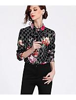 Недорогие -Жен. Рубашка Рубашечный воротник Однотонный / Геометрический принт