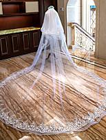 Недорогие -Два слоя Цветочный дизайн / Кружевная кромка Свадебные вуали Фата для венчания с Аппликации / Оборки Кружева / Тюль