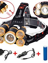 cheap -Headlamps LED 8000 lm 4 with Battery and Charger Waterproof Black / Orange Camping / Hiking / Caving