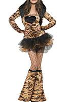 Недорогие -Кошка Платья Жен. Взрослые Секси Хэллоуин Хэллоуин Карнавал Маскарад Фестиваль / праздник Костюмы на Хэллоуин Инвентарь Коричневый Леопардовый принт