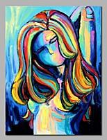 baratos -Pintura a Óleo Pintados à mão - Abstrato / Pessoas Modern Tela de pintura